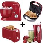 Kit Batedeira + WaffleMaker+Torradeira+Mixer Vermelho Cadence