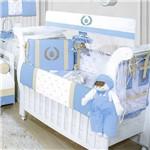Kit Berço Coroa Luxo Azul Bebê 09 Peças