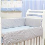 Kit Berço Doce Sonho Chevron Azul Bebê 4 Peças