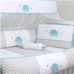 Kit Berço Elefante Azul Tiffany 100% Algodão 10 Peças