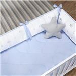 Kit Berço Happy Azul 200 Fios 100% Algodão 9 Peças