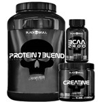 Kit Black Skull Crescimento Muscular C/ Whey 7 Blend (837g) + Creatina (150g) + BCAA 2400 (100 Cáps)