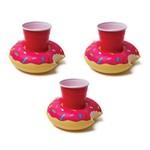 Kit Boia Porta Copos Donut Morango Inflável 3 Unidades