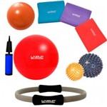 Kit Bola 45 Cm + 3 Faixas Elasticas + Arco + Bolas Massageadoras + Overball Liveup