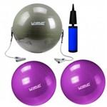 Kit Bola 65 Cm com Extensores + 2 Bolas 55 Cm + Mini Bomba de Inflar Liveup