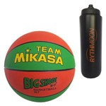 Kit Bola Basquete 157-GO Mikasa + Squeeze Automático 1lt