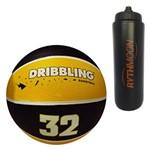 Kit Bola de Basquete Fama DRB Licenciada Oficial N7 Amarelo/Preto + Squeeze Automático 1lt