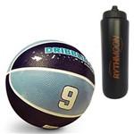 Kit Bola de Basquete Fama DRB Licenciada Oficial N7 Azul/Azul Claro + Squeeze Automático 1lt