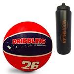 Kit Bola de Basquete Fama DRB Licenciada Oficial N7 Azul/Vermelho + Squeeze Automático 1lt