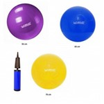 Kit 3 Bola Gym Ball Anti Burst Fit Bomba Liveup 55 65 75cm