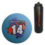 Kit Bola Iniciação de Borracha T14 Penalty Azul + Squeeze Automático 1lt