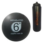 Kit Bola Massageadora MEGA Ball PRO 95mm Six Plus Preta + Squeeze Automático 1lt