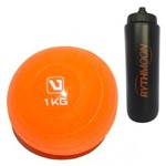 Kit Bola Peso Heavy Tonning Ball Liveup 1KG Laranja + Squeeze Automático 1lt