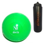 Kit Bola Peso Heavy Tonning Ball Liveup 2KG Verde + Squeeze Automático 1lt