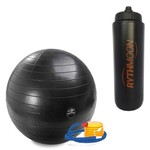 Kit Bola Pilates GymBall + Bomba - Mormaii 75cm + Squeeze Automático 1lt