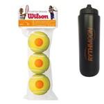 Kit Bola Tênis Starter Stage 2 Laranja Wilson com 03 Unidade + Squeeze Automático 1lt