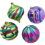 Kit Bolas Fashion com 4 Unidades 15cm Christmas Traditions