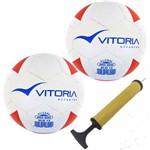 Kit 2 Bolas Futsal Vitoria Brx 200 Sub 13 Infantil Bomba Ar
