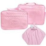 Kit 3 Bolsa Maternidade Naninha Enxoval de Bebê 100% Algodão Antialérgico Menina Rosa