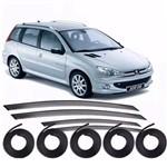 Kit Borrachas das Portas e Calha Defletor Chuva Peugeot 206 Sw 207 Sw