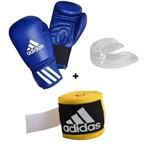 Kit Boxe Adidas Speed 50 Azul 10 Oz ( Luva+bucal+bandagem)