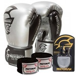 Kit Boxe Elite Pretorian Bucal + Bandagem + Luva 14OZ Silver