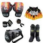 Kit Boxe Top -Luva Bandagem Bucal Caneleira Bolsa Shorts - FOGO - Fheras