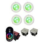 Kit C/ 4 Leds Iluminação P/ Piscinas Até 56m² Sodramar Modelo Hiper Led Rgb 9w Frontal Abs + Comando Touch