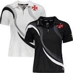 Kit C/ 2 Camisas Polo Femininas Vasco da Gama Logo Lateral Oficial