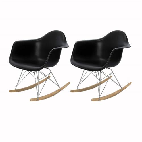 Kit 2 Cadeira Eames Wood Balanço Preta com Braços OR Design 1122