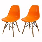 Kit 2 Cadeira Eames Wood Laranja PP OR Design 1102B