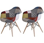 Kit 2 Cadeira Eames Wood Patch Work Estampada OR Design 1120