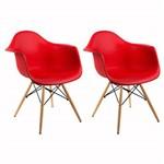 Kit 2 Cadeira Eames Wood Vermelha com Braços OR Design 1120