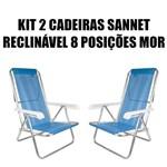 Kit 2 Cadeira Reclinável Alumínio 8 Posições Mor