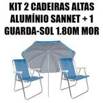 Kit 2 Cadeiras Altas de Alumínio Sannet Azuis + 1 Guarda-sol Fashion 1,80m