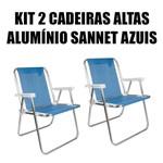 Kit 2 Cadeiras Altas de Alumínio Sannet Azuis