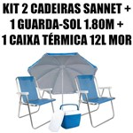 Kit 2 Cadeiras Alumínio Sannet Azuis + 1 Guarda-sol 1,80m + 1 Caixa 12l Mor