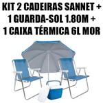 Kit 2 Cadeiras Alumínio Sannet Azuis + 1 Guarda-sol 1,80m Azul + 1 Caixa 6l Azul Mor