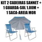 Kit 2 Cadeiras Alumínio Sannet Azul + 1 Guarda-sol 1,80m Azul + 1 Saca-areia Mor