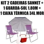 Kit 2 Cadeiras Alumínio Sannet Lilás + 1 Guarda-sol 1,80 + 1 Caixa 34l Mor