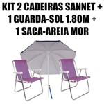 Kit 2 Cadeiras Alumínio Sannet Lilás + 1 Guarda-sol 1,80m Marinho + 1 Saca-areia Mor