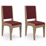 Kit 2 Cadeiras Cad103 para Sala de Jantar Nogal/vinho - Kappesberg