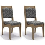 Kit 2 Cadeiras Cad105 para Sala de Jantar Nogal/gold Floral - Kappesberg