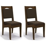 Kit 2 Cadeiras Cad105 para Sala de Jantar Walnut/marrom - Kappesberg