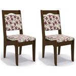 Kit 2 Cadeiras Cad105 para Sala de Jantar Walnut/rosas Vemelhas - Kappesberg
