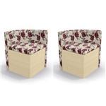 Kit 2 Cadeiras Cad108 para Sala de Jantar Pine/rosas Vermelhas - Kappesberg
