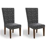 Kit 2 Cadeiras Cad109 para Sala de Jantar Walnut/gold Floral - Kappesberg