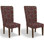 Kit 2 Cadeiras Cad112 para Sala de Jantar Walnut/flores Bordô - Kappesberg