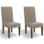 Kit 2 Cadeiras Cad110 para Sala de Jantar Walnut/flores Marrom - Kappesberg