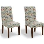 Kit 2 Cadeiras Cad111 para Sala de Jantar Walnut/folhas Coloridas - Kappesberg
